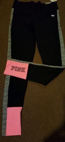 Victorias-Secret-PINK-Flat-Yoga-Legging-Pants-Black-Neon-Graphic-S-Small-NWT