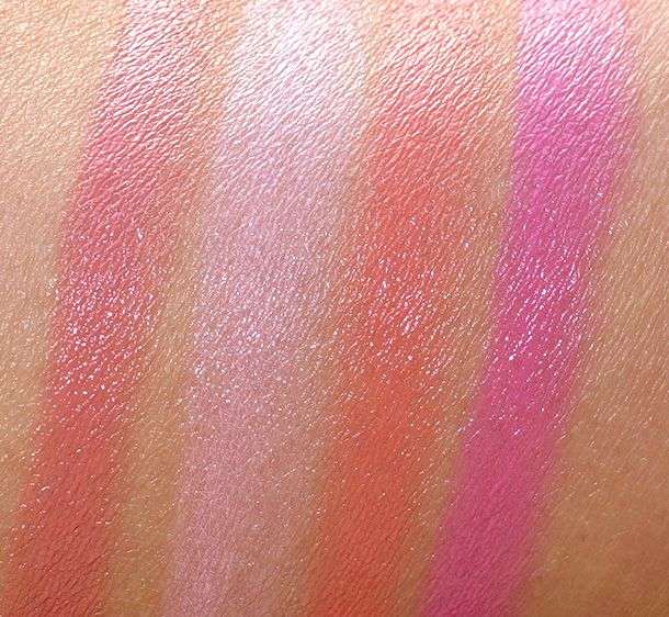 NARS Final Cut Satin Lip Pencil Swatches from the left: Descanso, Stourhead, Torres Del Paine and Villa Lante