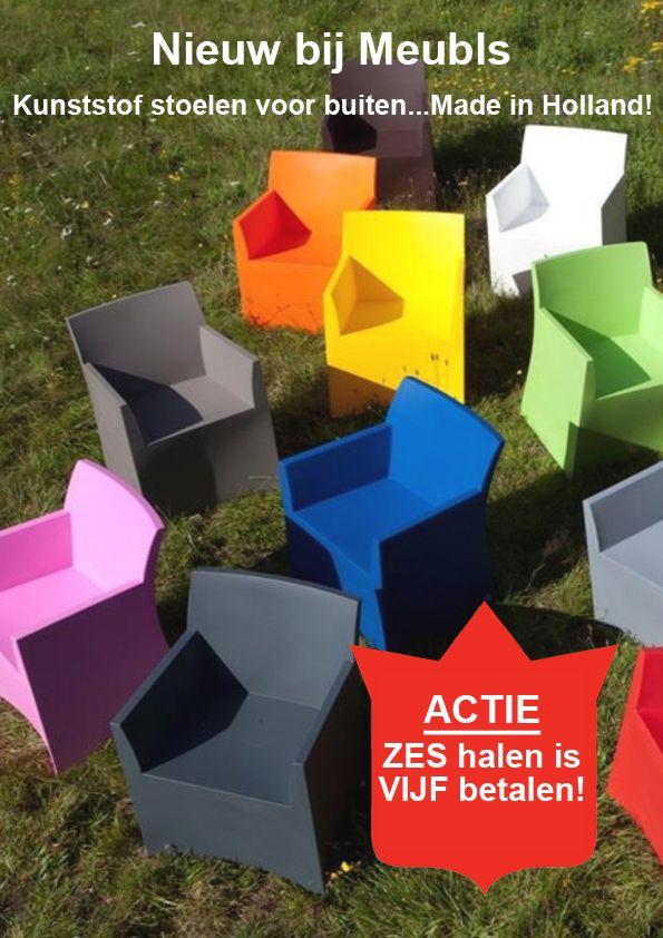 Nieuw bij Meubls. Kunststof buitenstoelen in tien verschillende kleuren. Nu zes halen is vijf betalen! Kom snel langs bij Meubls Haarlem of Alkmaar.
