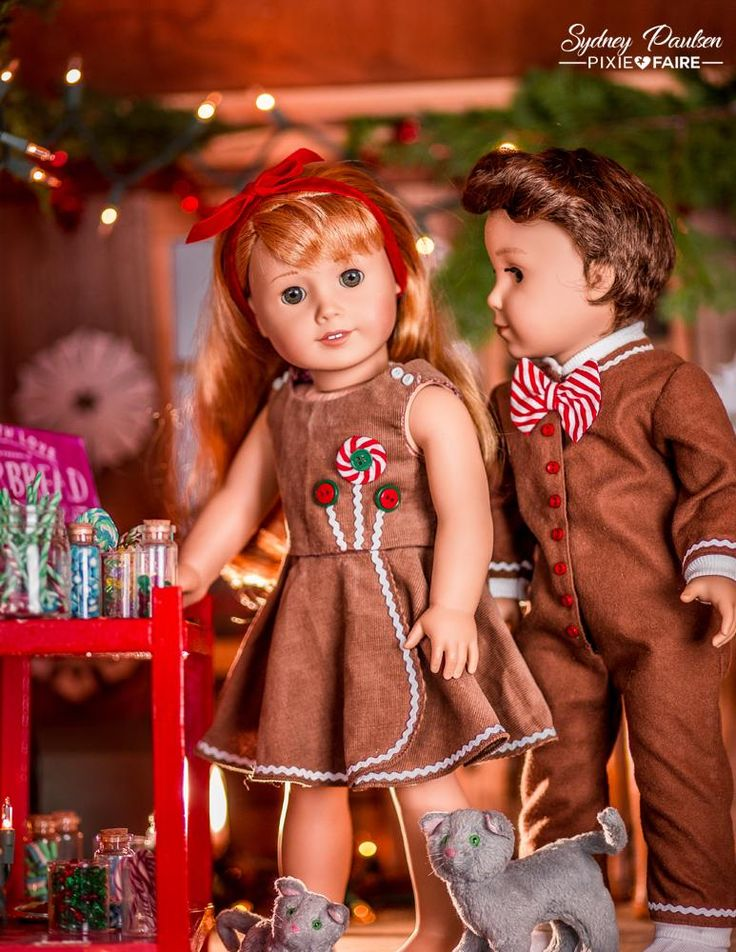 "Gingerbread Girl and Boy modeled beautifully on American Girl dolls, outfits made using the Lollipop Garden Dress 18"" Doll Clothes Pattern and Drop Seat Jammies by Forever 18 Inches."