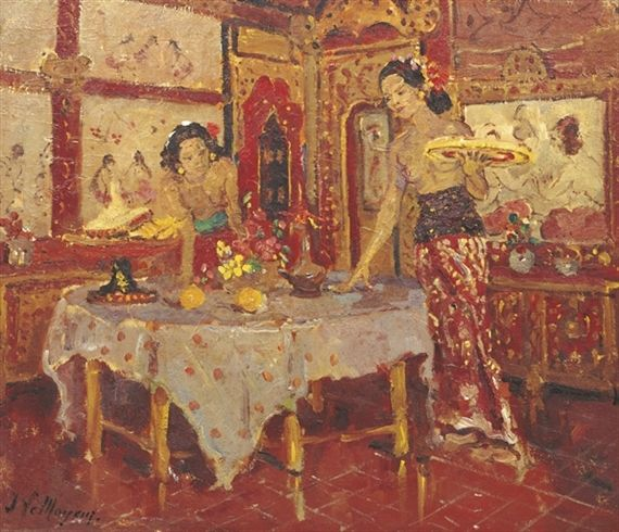Adrien Jean Le Mayeur de Merprès - Two women in an interior, Sanur