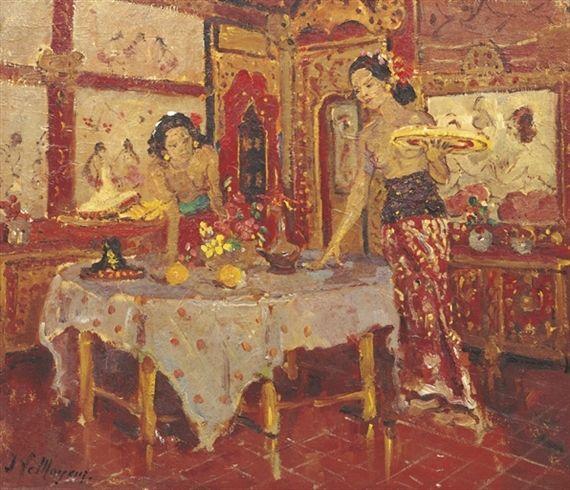 Adrien Jean Le Mayeur de Merprès - Two women in an interior, Sanur