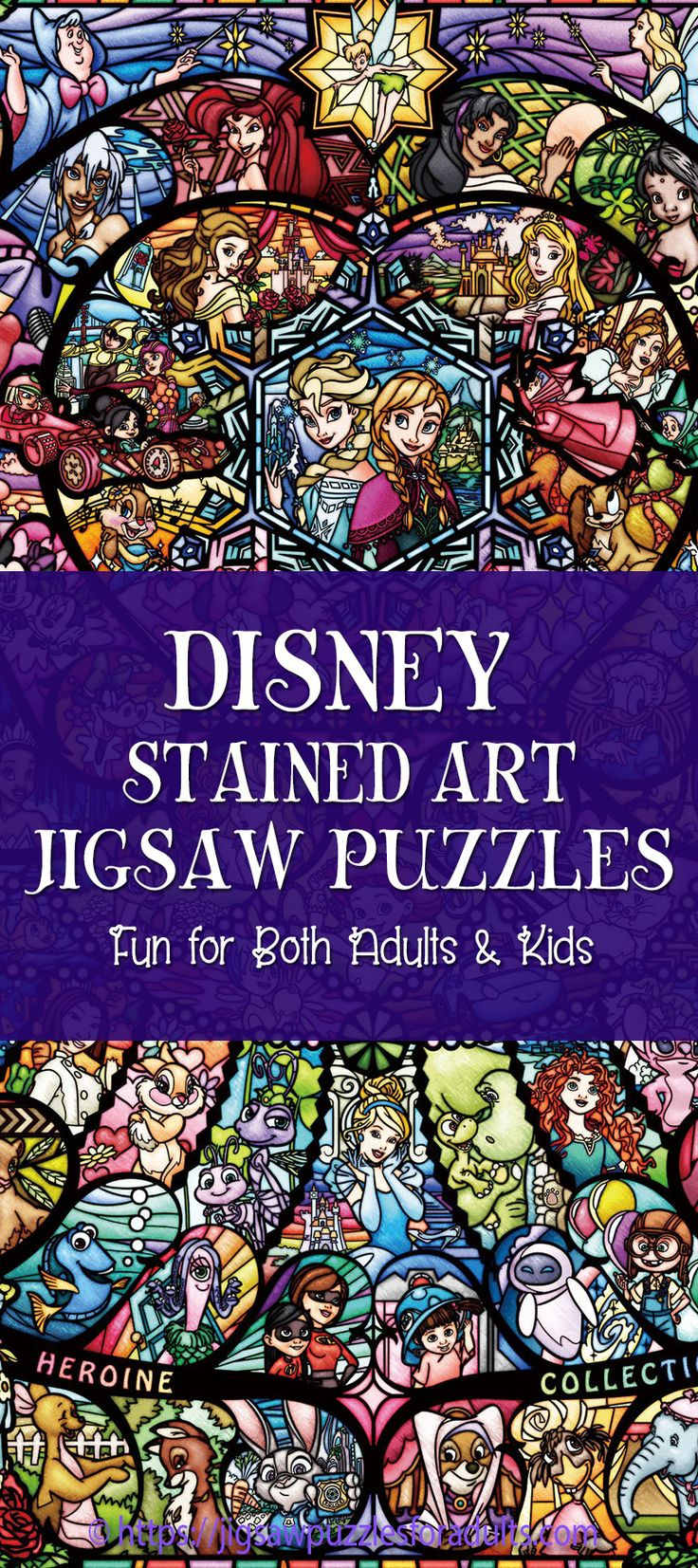 Looking for a special Disney stained art jigsaw puzzle? You'll find plenty of stunning stained art jigsaw puzzles of your most memorable Disney characters. These Tenyo Disney puzzles make fantastic gifts for avid jigsaw puzzlers or for anyone who loves Disney art work.