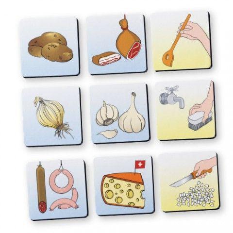 CHEF LA CUISINE ACCESSIBLE DL556  16 cartes magnétiques épaisses, faciles à manipuler, pour créer des panneaux d'affichage autour des aliments et leur préparation. On peut transformer une recette simple en format visuel en créant des séquences parmi les catégories d'images. 2 cartes vierges à personnaliser avec le marqueur tableau blanc (inclus). Dim. 6 x 6 cm.