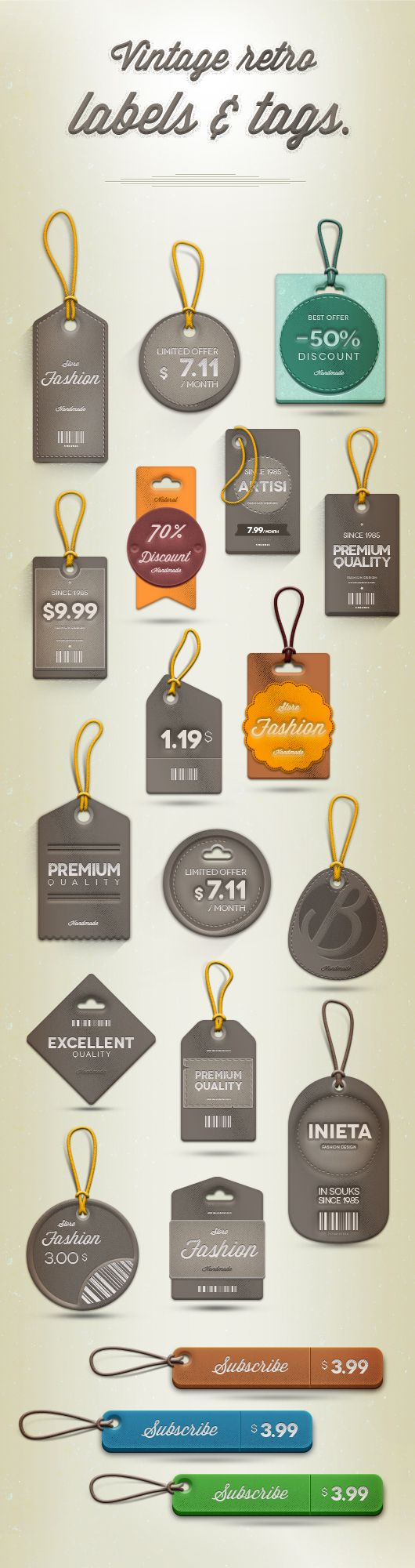 Retro Psd Labels