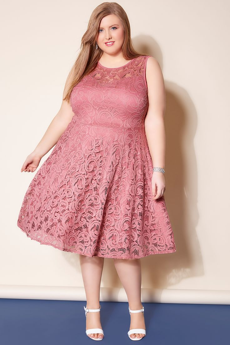 Rose Pink Lace Skater Dress With Sweetheart Neckline plus size 16 to 32 yours