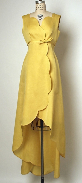 I love scalloped anything!  A stunning butter yellow Cristobal Balenciaga dress