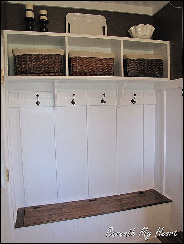 Bins for toys.  Hooks for leashes.  Bench storage for tools and off-season decor.