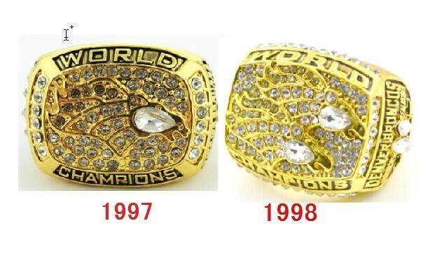 1997 1998 Denver Broncos 2pcs Super Bowl replic championship rings Size 11