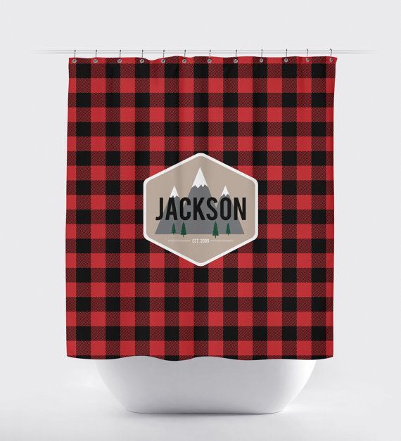 Buffalo Plaid Shower Curtain Custom Shower Curtain by nickwilljack