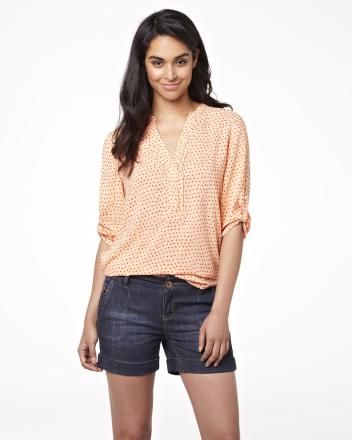 Half placket challis blouse with roll-up sleeves Summer 2013 Collection