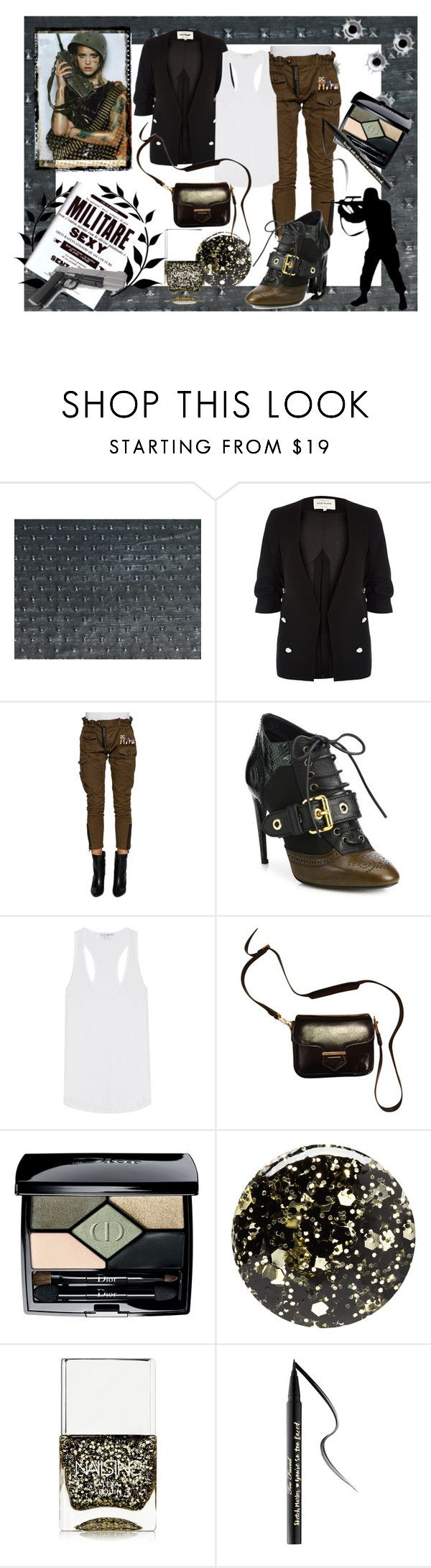 """""""Military Minx."""" by kerry-chesterman ❤ liked on Polyvore featuring River Island, Dsquared2, Burberry, James Perse, Tod's, Christian Dior, Nails Inc. and Too Faced Cosmetics"""