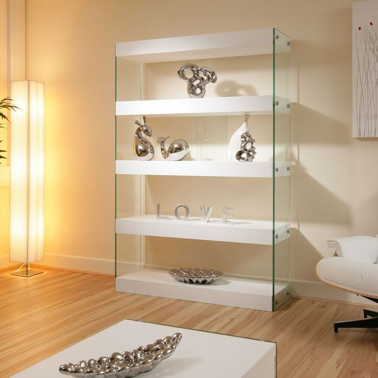 High Gloss White Shelf Unit with Glass sides.