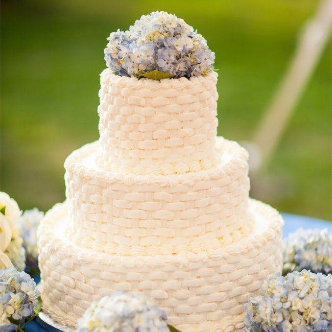 White Basket Weave Wedding Cake Design With Blue Hydrangeas Armor And Martel Photography