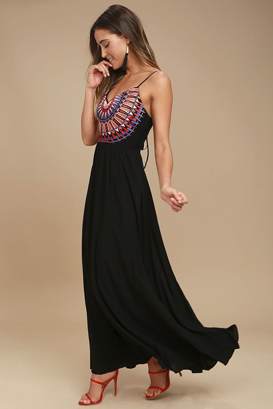 Lulus Exclusive! Elevate your vacay wardrobe with the Ascension Island Black Embroidered Maxi Dress! Adjustable straps support a sweetheart bodice embellished with a burst of red, orange, blue, and grey embroidery. Open back is finished with tying straps, and bit of elastic above a woven rayon maxi skirt.