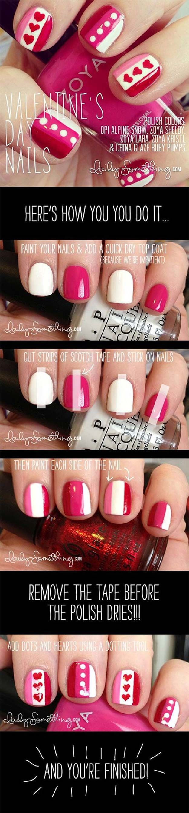 Valentine Nail Art Ideas - Valentine's Day Nail Art - Cute and Cool Looks For Valentines Day Nails - Hearts, Gradients, Red, Black and Pink Designs - Easy Ideas for DIY Manicures with Step by Step Tutorials - Fun Ideas for Teens, Teenagers and Women http://diyprojectsforteens.com/valentine-nail-art-ideas