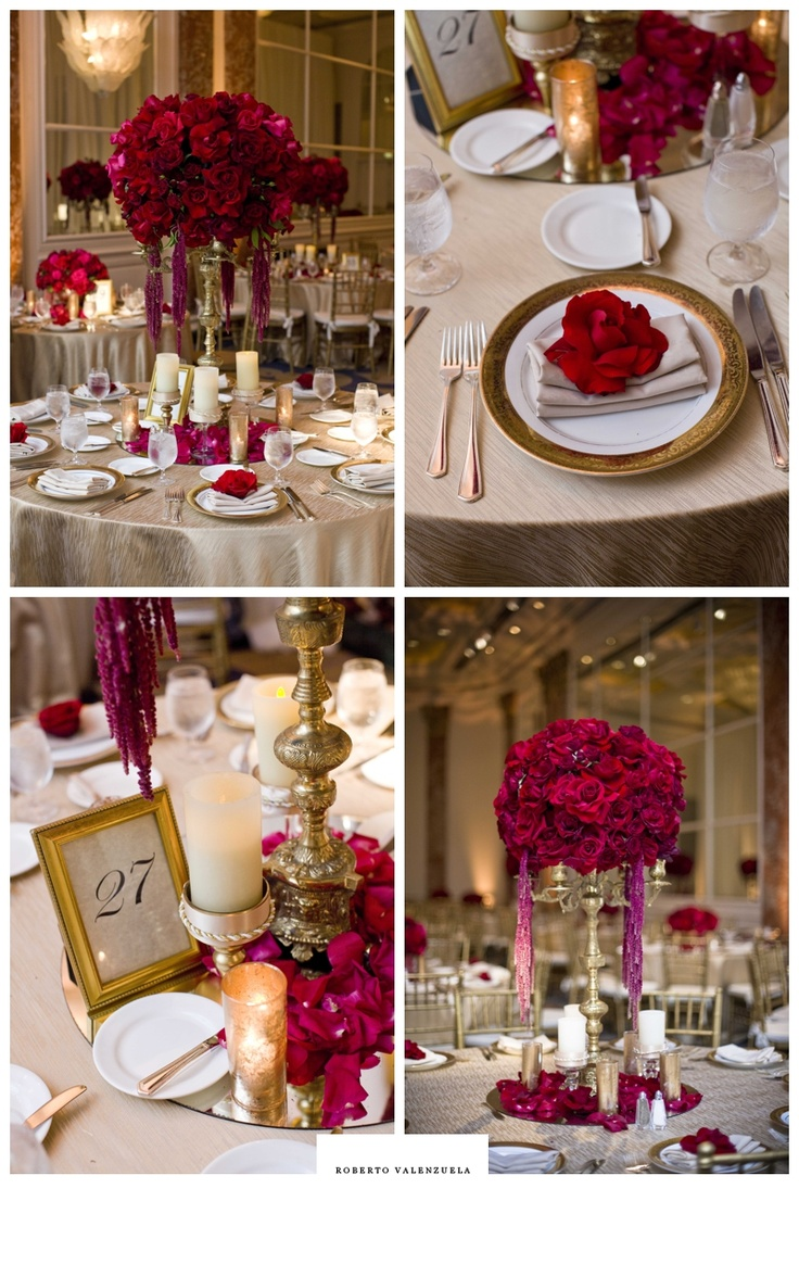 Table settings for a red and gold wedding at Beverly Wilshire, A Four Seasons Hotel.