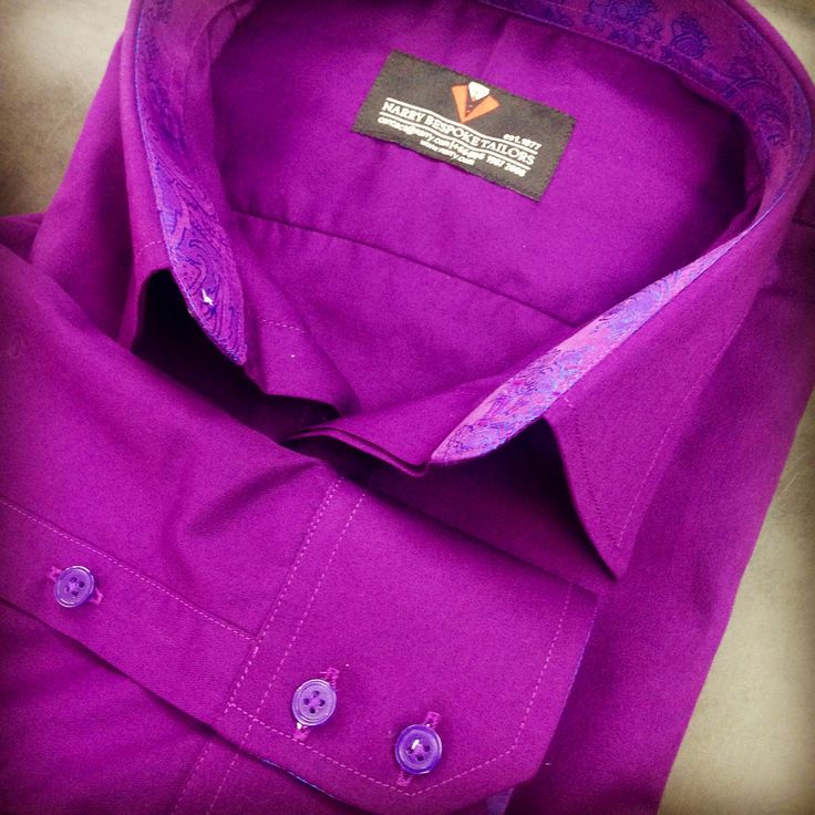 Purple Shirt with Lining custom tailored by Narry Tailored #purpleshirt #matchingcolorlining #singlecuff #pointedcolar #matchingcolorbutton