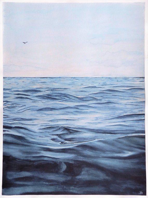 Meeresblick Meer Wellen Aquarell Watercolor Unikat Original