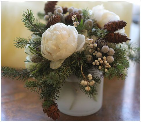 Arrangement, Centerpiece, Winter, Holiday, Christmas, White, Spruce, PineCone, Berries, Peony