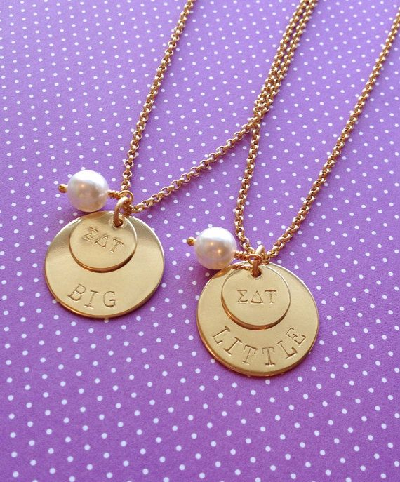 Big Sis Little Sis Necklace Big Little Sorority by Meant2Bead, $30.00