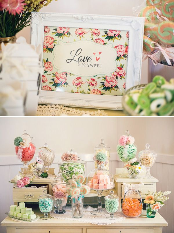 I love the 'Love is Sweet' in the frame with the flowers for the lolly buffet.