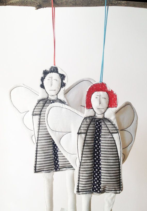christmas Angels Decorations dolls TWO Modern by TIMOHANDMADE, $57.00