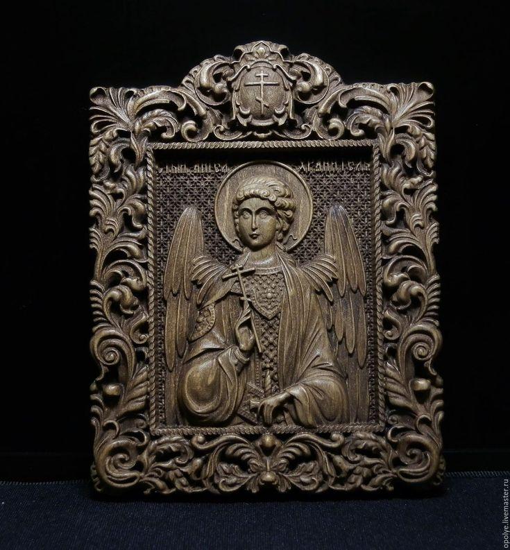 Купить Резная икона из дерева - Ангел Хранитель - икона, подарок, резьба по дереву, резная икона