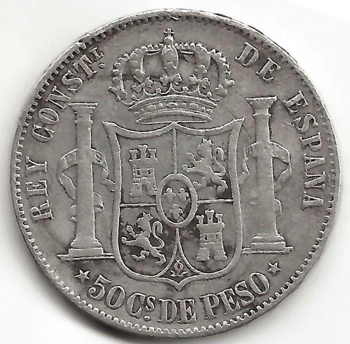 Spanje 50 centavos munt Filippijnen 1885 Alfonso XII bakkebaarden (1 munt)  Spanje.Alfonso XII.De Filippijnen.Jaar 1885.50 centavos.Metaal: 835 zilver.Diameter: 24 mm.Vijf-puntige sterren (Manilla munt).Behoud = VF = F.Degene in de afbeelding.  EUR 1.00  Meer informatie