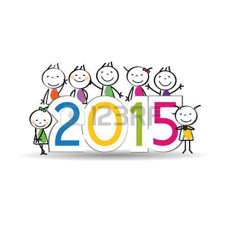 Yeni Yıl 2015 Sevimli ve renkli kart Stok Fotoğraf