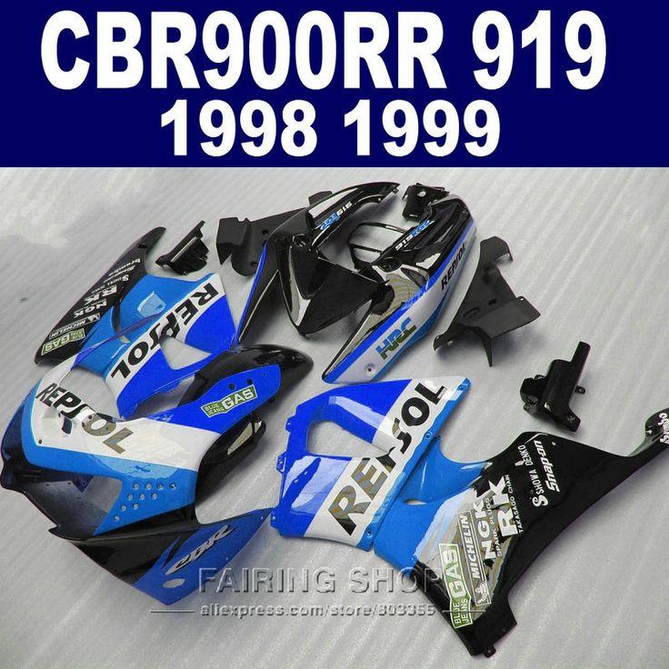 (343.17$)  Watch now  - cbr900rr919 98 *99 For Honda Cbr900rr Fairings 919 1999 1998 free EMS Fairing kit ( Blue repsol ) CN48