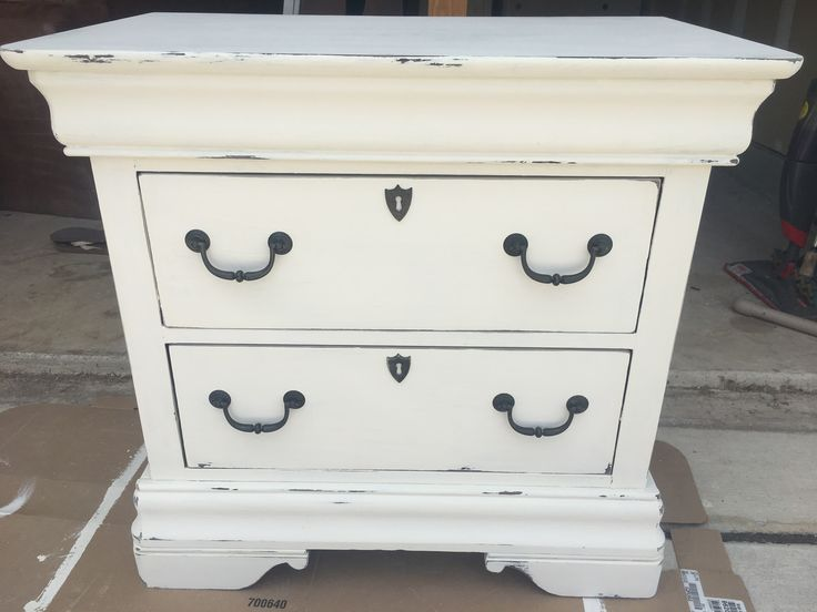 DIY chalk paint dresser in Swiss Coffee color 1 cup latex paint 1tbsp unsanded grout
