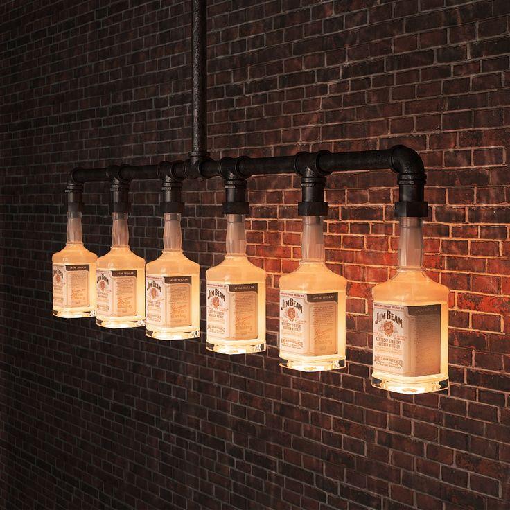 169.00$  Buy here - http://ali98n.shopchina.info/1/go.php?t=32786735689 - Jim Beam Glass Beer Bottle Chandelier Lighting industrial water pipe vintage bar decorative lights lighting fixture   #aliexpresschina