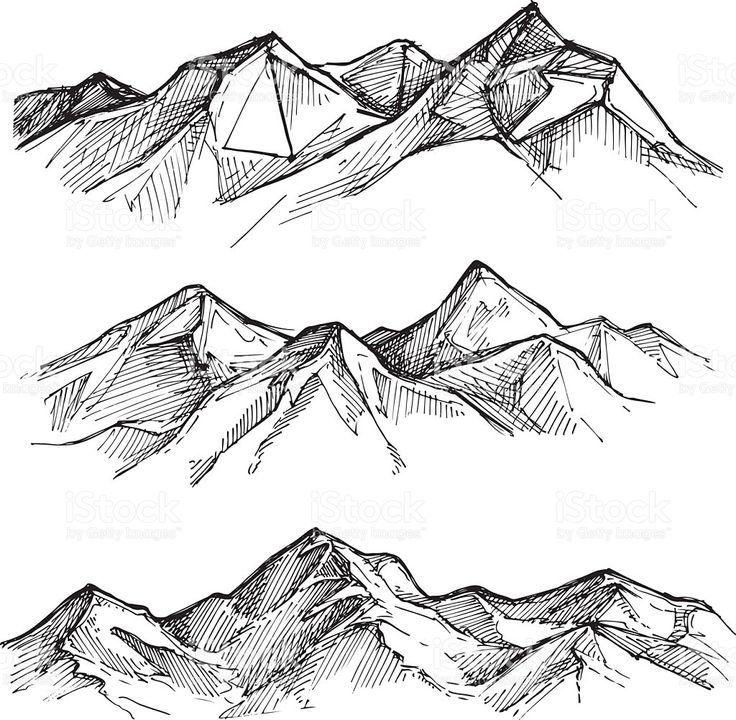 Hand drawn vector illustration – mountains. Sketch style. Outdoor…