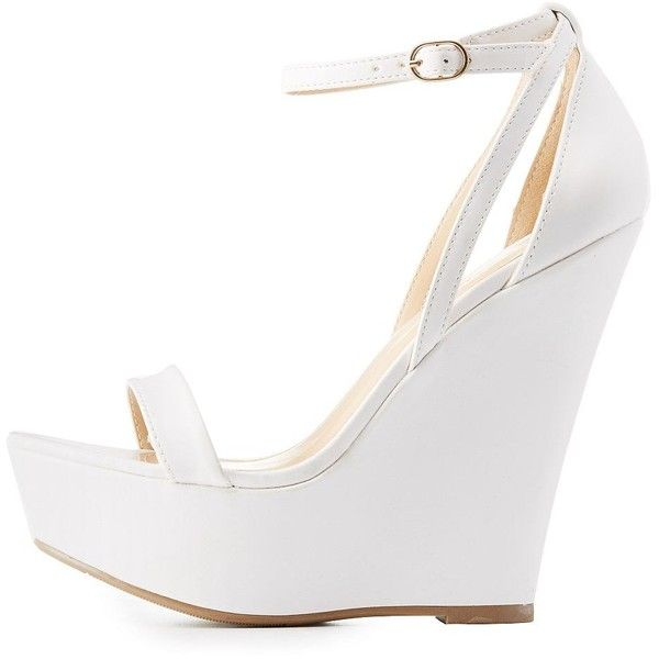 Wild Diva Lounge Strappy Wedge Sandals ($33) ❤ liked on Polyvore featuring shoes, sandals, white, strappy wedge sandals, caged sandals, toe strap sandals, wrap sandals and white wedge sandals