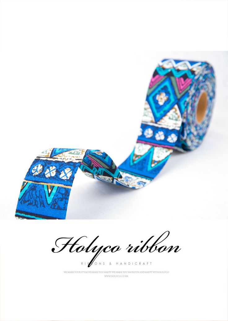 Blue Ethnic Style Fabric Folding Ribbon / 2''(50mm) / made in korea by HOLYCO on Etsy