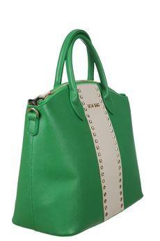 #Miabag #borsa in ecopelle, applicazione di borchie dorate, tracolla estraibile e chiusura con zip #bag #moda #fashion #bforeshop
