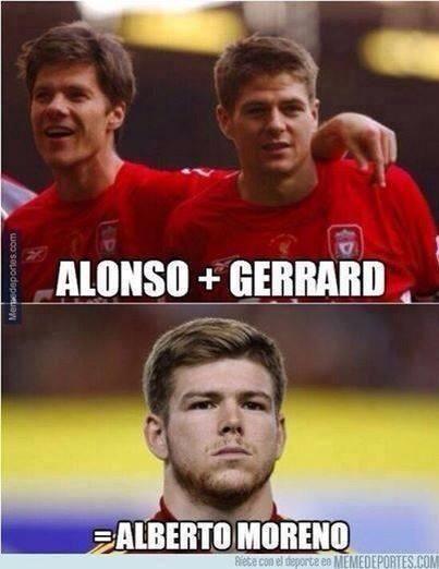 Alonso + Gerrard = Alberto Moreno?? Haha.  Welcome to Anfield . YNWA . #moreno #LFC