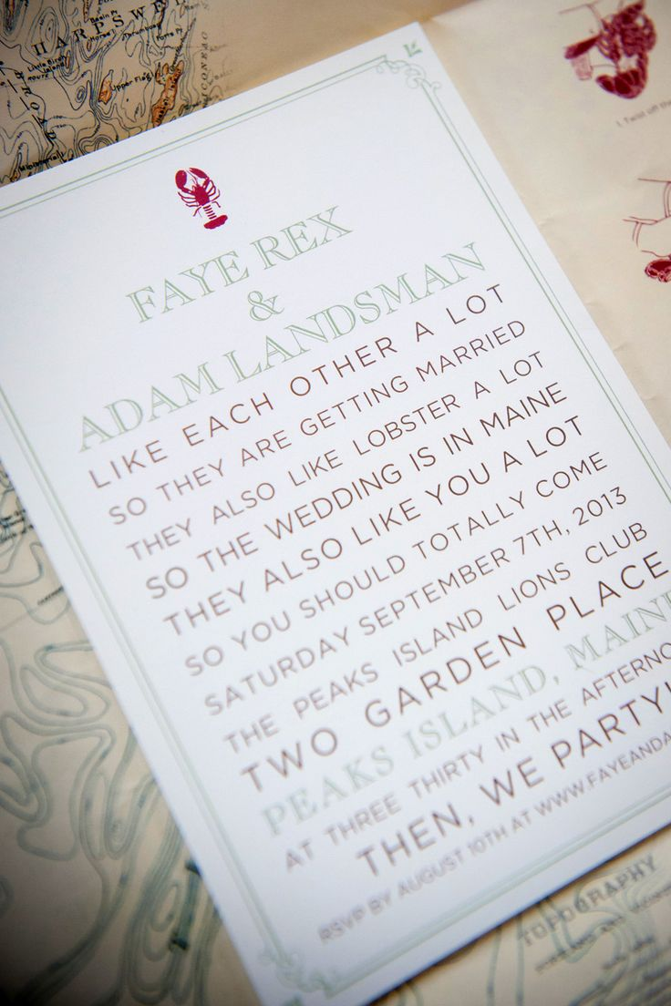 Pretty Fun Wedding Invitations ~ Lobster Logo ~ See more on SMP:  http://www.StyleMePretty.com/2014/05/26/new-england-summer-wedding-at-peaks-island/  Photography: Kathy Blanchard Photography - kathyweddings.com