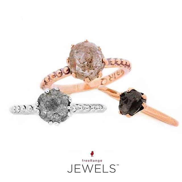 The more the merrier! Three of our favorite 14 facet rough diamond bobble shank rings. Shop www.freerangejewels.co.za #customdesign #handmade#jewellery#capetown #southafrica