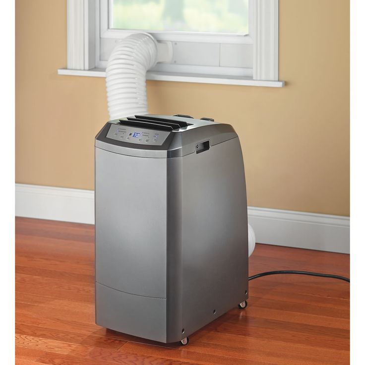 This portable air conditioner provides 11,000 BTU of cooling power while occupying a mere 1 1/2' sq. of floor space, less than an end table.
