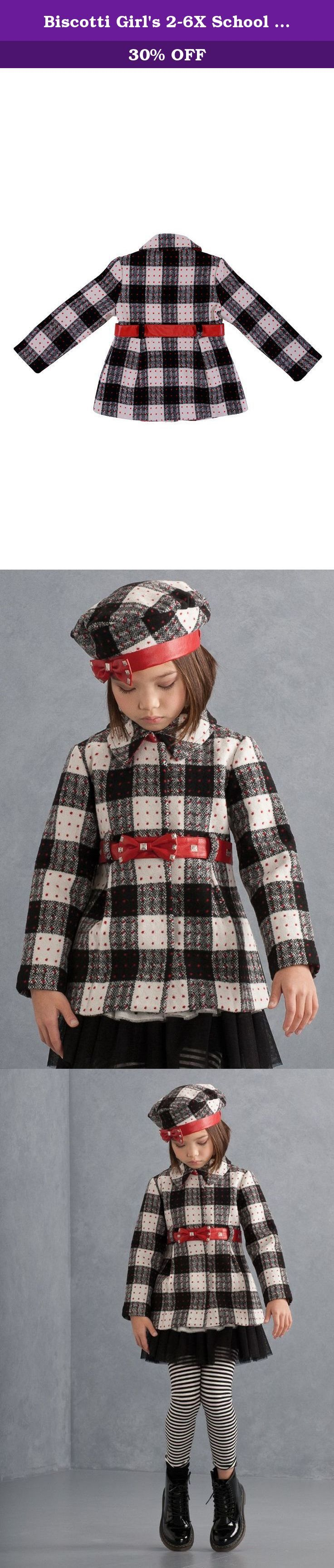 Biscotti Girl's 2-6X School Of Rock Plaid Coat - Size 6X, Black. Scattered silver studs provide a measure of cool to this charming plaid coat with a red pleather bow belt.