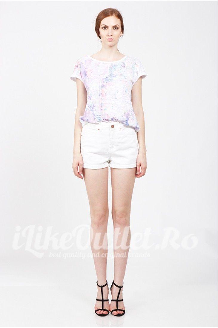 Tricou alb cu imprimeu multicolor
