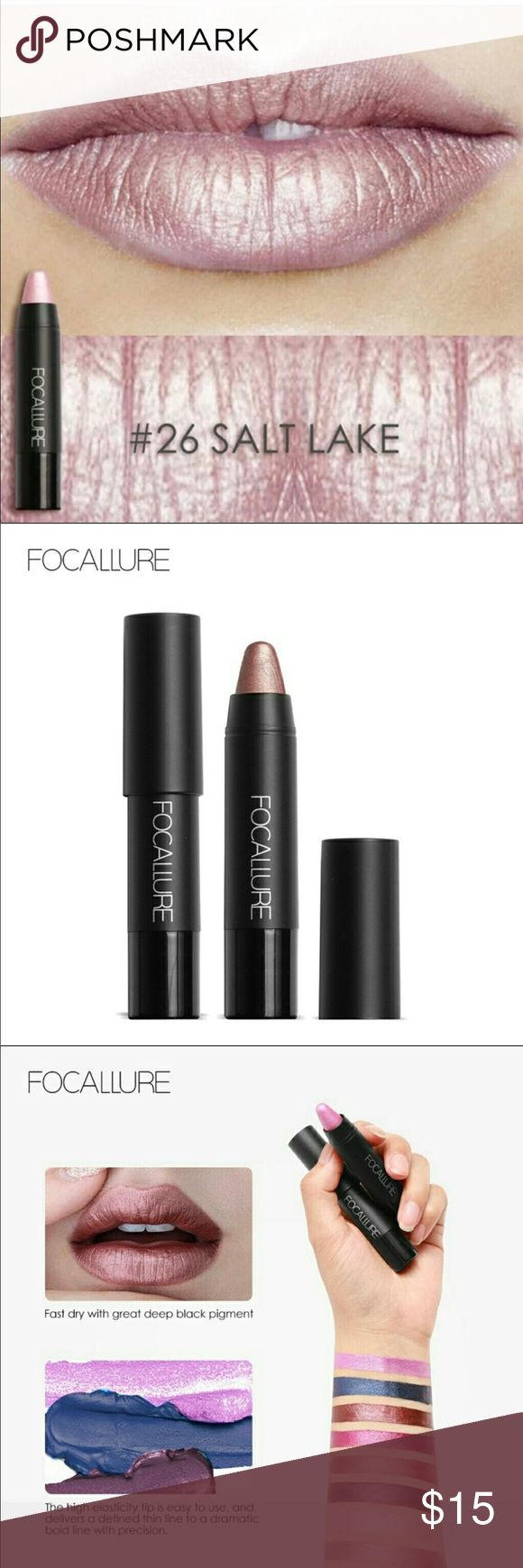FOCALLURE Creamy Lip Color Crayon in #26 Salt Lake FOCALLURE Creamy Lip Color Crayon is a highly pigmented lipstick that glides on smoothly and stays put! Easy to outline and fill in color. Moisturizing while it works making luscious lips!   Color #26 SALT LAKE Full size net weight 0.1oz/3g Listing is for one lip crayon  Please feel free to ask questions! Thank you for shopping my closet! Happy Poshing! Makeup Lipstick