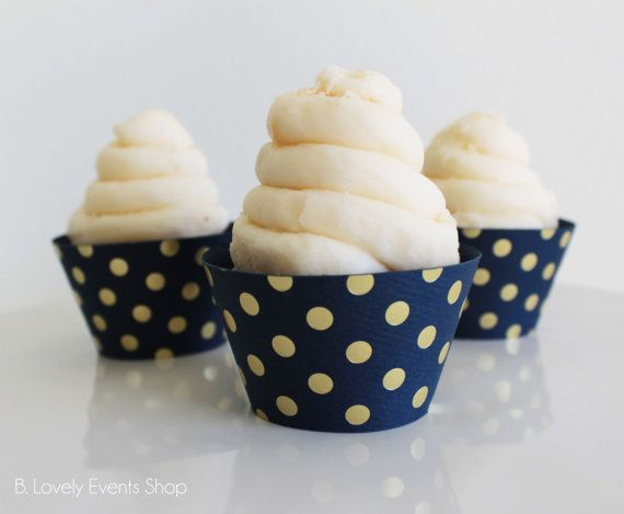 Lovely Up Your Cupcakes With These Navy Blue And Gold Polka Dot Cupcake Wrappers! Lovely Gold Polka Dots On Navy Blue Paper. These cupcake wrappers are made to order and come in a pack of 6, 12, 18, 24 or more. Custom counts available too. Minis Available Too! Such a lovely gold polka dot design for any occasion! Birthdays, Bridal Showers, Weddings, Baby Showers-You Name it! Size- - 2 base - 1 3/4 tall Mini Size- 1 1/2 base 1 1/4 tall Please note that printed colors may look...