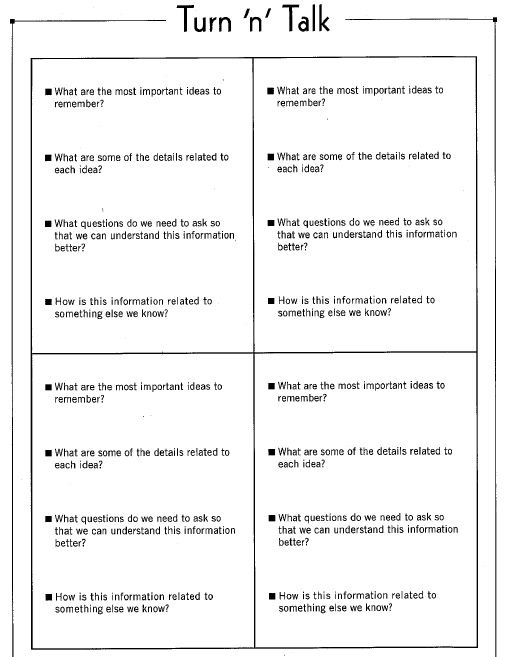 Turn and talk prompts - these look great for non-fiction.