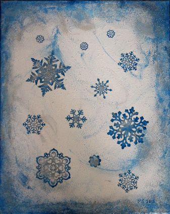 Winter painting. Snowflakes. Die cuts,acrylic paint and Dimond dust. / Talvitaulu. Lumihiutaleet.