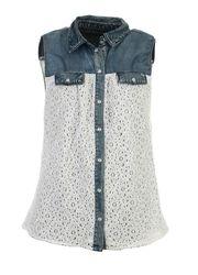 Only Jada Lace Denim Shirt   Vuuh.dk
