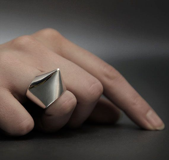 """NAIL_02 ring from """"HOLE & NAIL"""" Collection. Unique Limited Edition of modern sterling silver rings. Punk trend style. winter sale -20% off"""