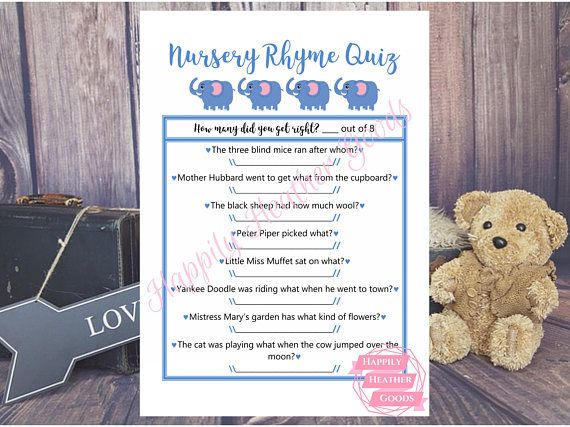 Have a blast with this game of nursery rhymes! This is a printable game for a baby shower with a blue elephant theme and a cursive font. Custom color options available upon request with an added fee. Reach out to me prior to purchasing and we can determine what fits your style and